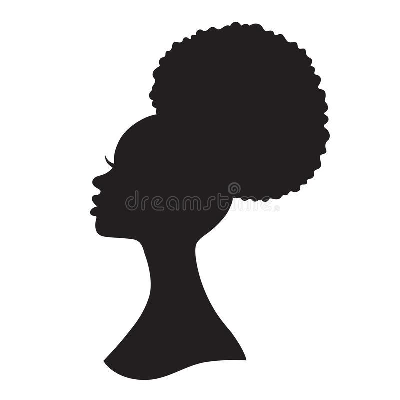 Silhouette Fifty Fab Woman: Black Woman With Afro Hair Silhouette Vector Illustration