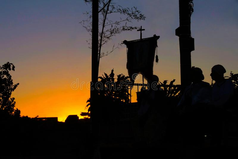 Afro-religious manifestation at sunset stock photography