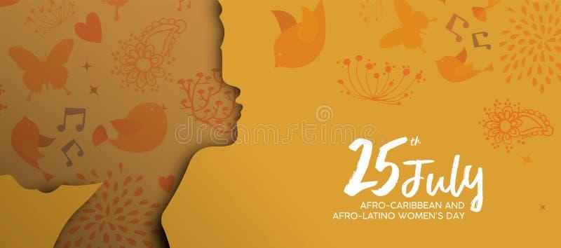 Afro schnitt karibisches Latinofrauen-Tagespapier Fahne vektor abbildung