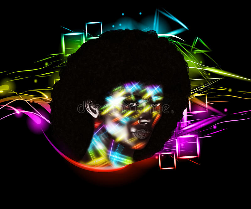Afro sztuki kobieta, kolorowa cyfrowa sztuka z rocznikiem i retro spojrzenie z abstrakcjonistycznym tłem, ilustracja wektor
