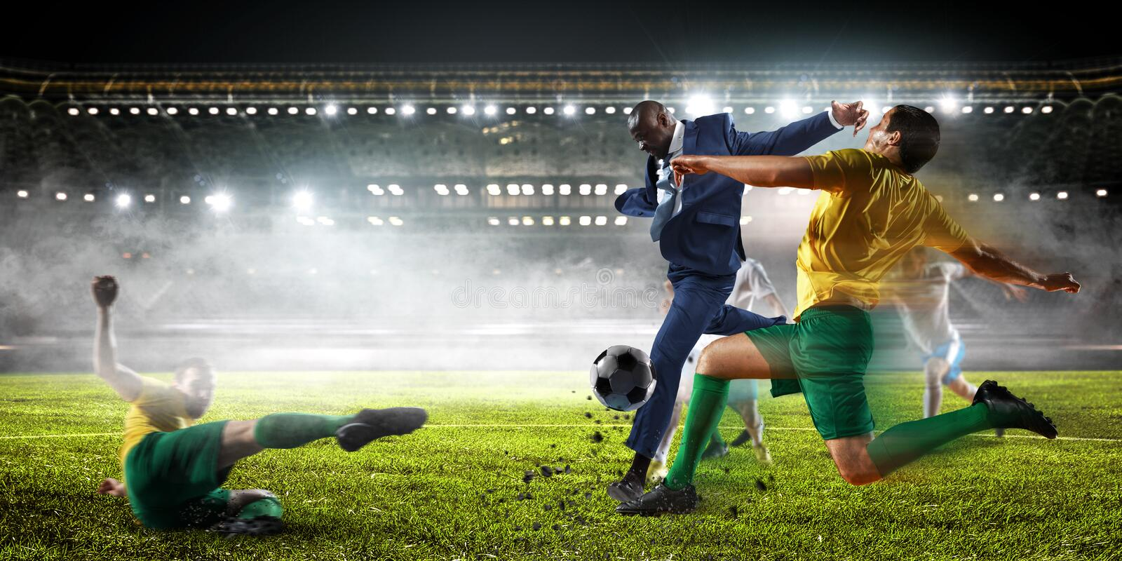 Soccer man in action with ball. Mixed media royalty free stock photography