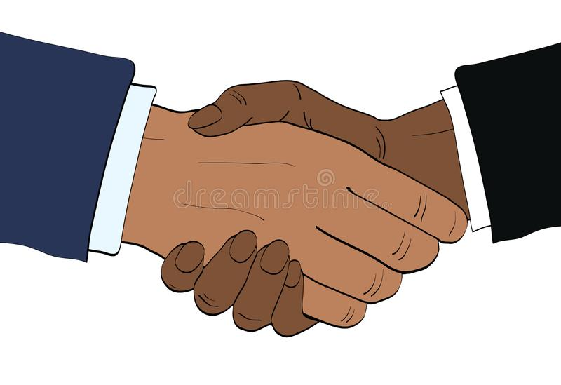 Afroamerican businessmen shake hands vector illustration in retro pop art style. Partnership handshake concept poster in comic de vector illustration