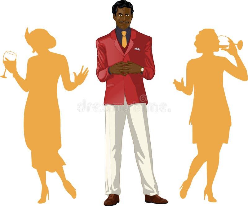 Afroamerican samiec przyjęcia gospodarz z żeńskimi gościami ilustracja wektor