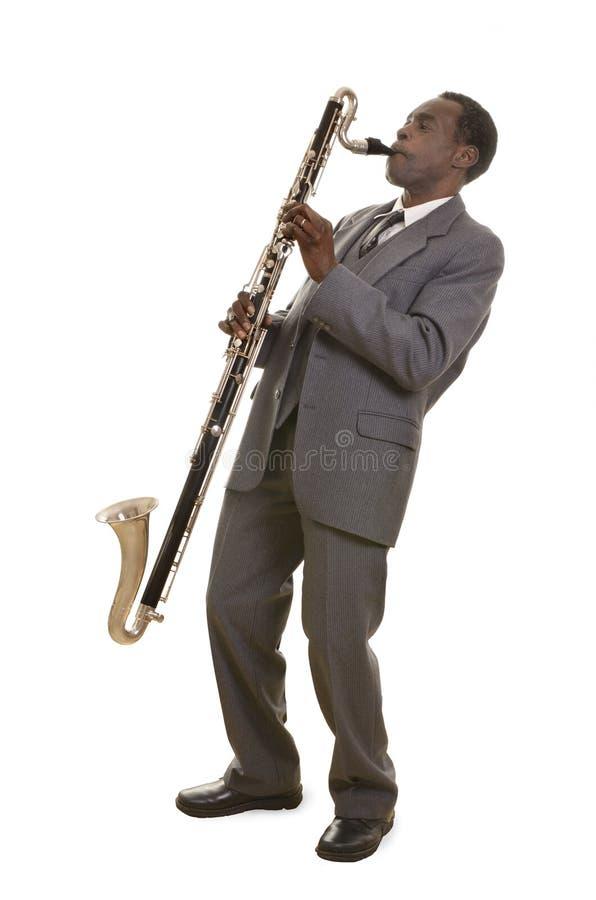 Afroamericano Jazz Musician con Bass Clarinet foto de archivo