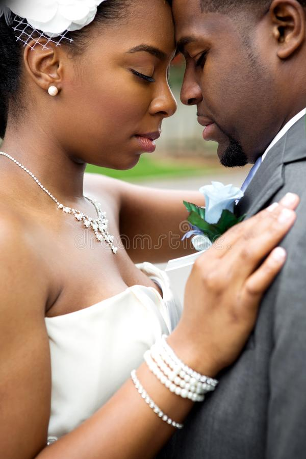 Afroamerikaner-Braut und Bräutigam lizenzfreies stockfoto
