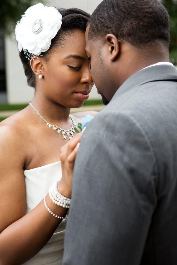 Afroamerikaner-Braut und Bräutigam lizenzfreie stockbilder