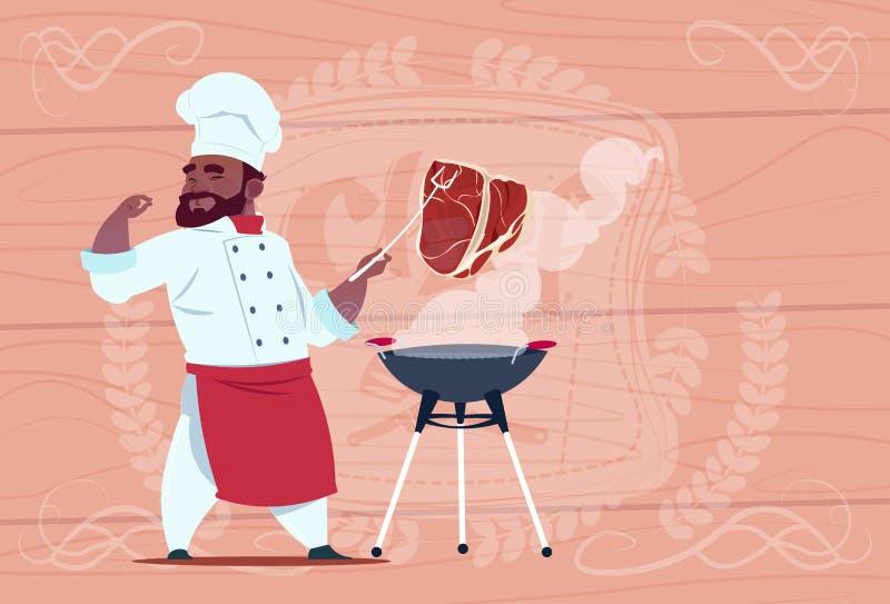 Afroamerikaner-Chef-Koch-Grill Meat On Bbq-Karikatur-Restaurant-Leiter in der weißen Uniform über hölzernem strukturiertem Hinter stock abbildung