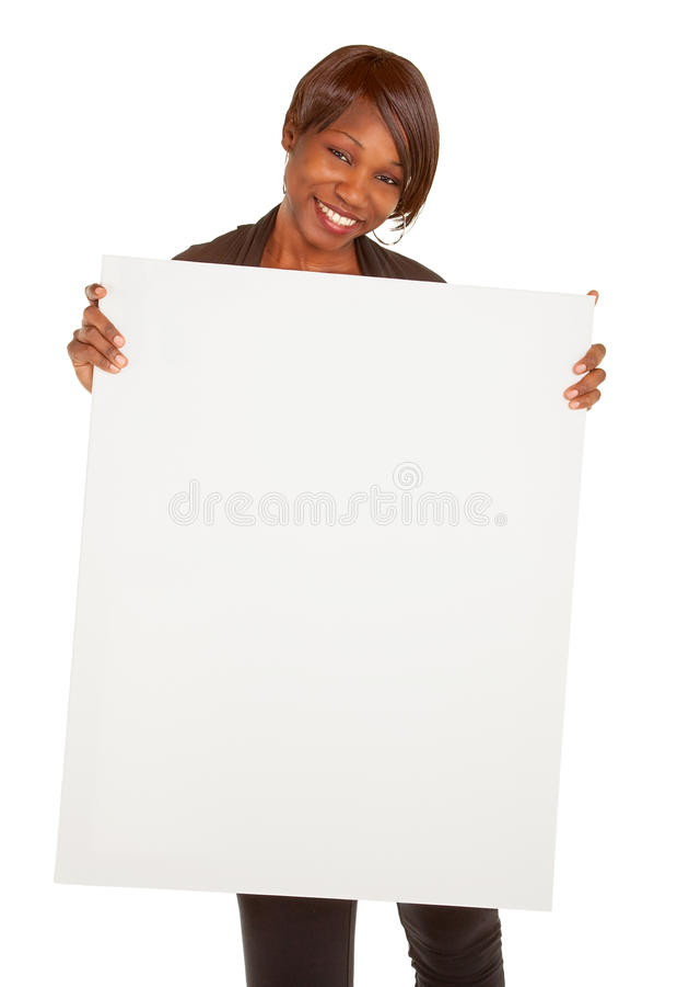 Afroamerikaner-Frau, die ein unbelegtes weißes Zeichen anhält stockfotos