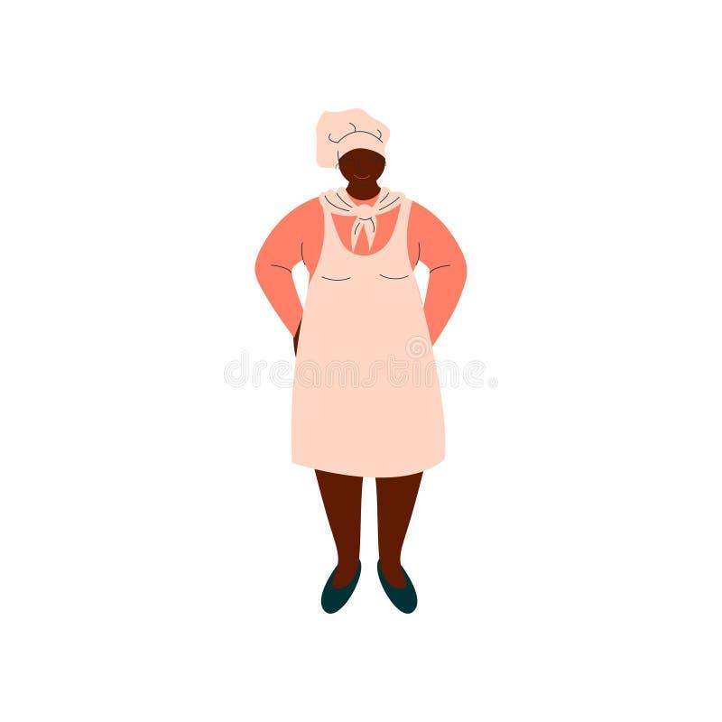 Afroamerikaner-Frauen-Koch, Berufs-Kitchener-Charakter in der einheitlichen stehenden Vektor-Illustration vektor abbildung