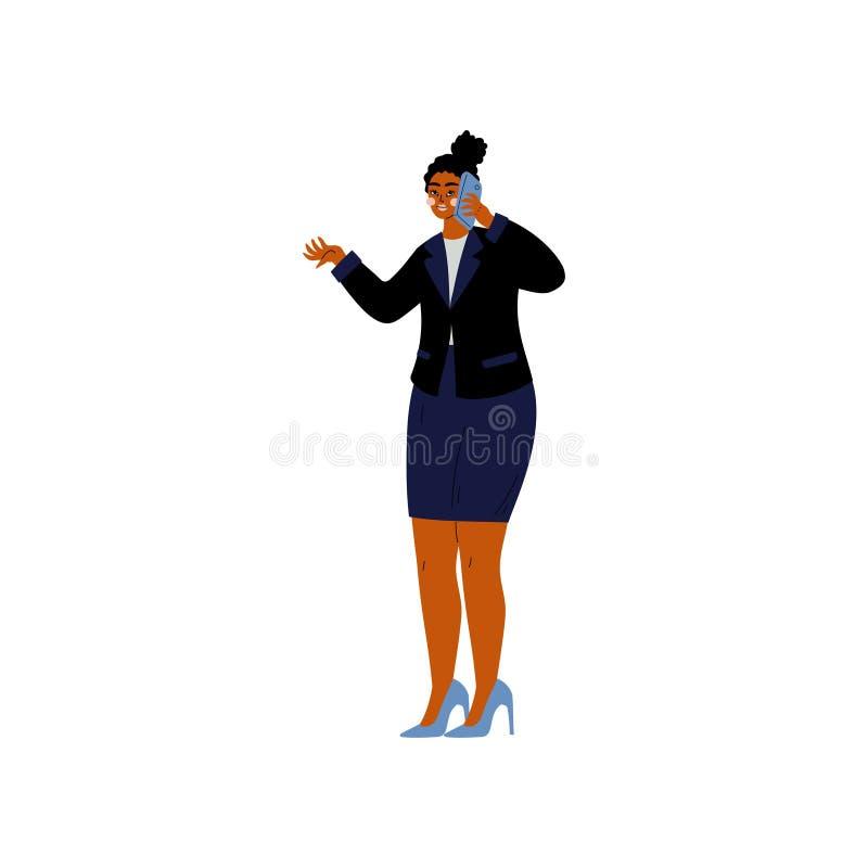 Afroamerikaner-Geschäftsfrau, die auf Telefon, Büroangestelltem, Unternehmer oder Manager Character Vector Illustration spricht vektor abbildung