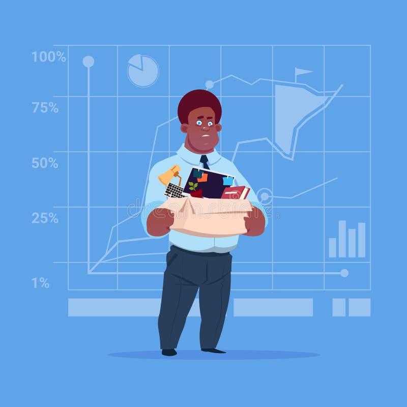 Afroamerikaner-Geschäftsmann-Griff-Kasten mit Büro-Material-Suche nach Job Position Vacancy Unemployment Concept vektor abbildung