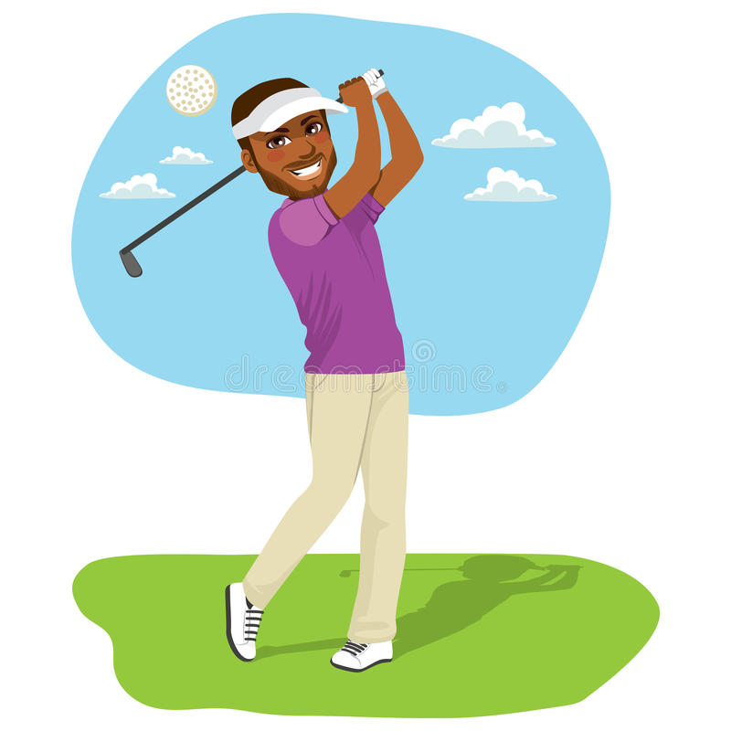 Afroamerikaner-Golfspieler lizenzfreie abbildung