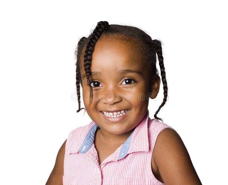 Afroamerikaner-/Latinomädchenlächeln stockfotos