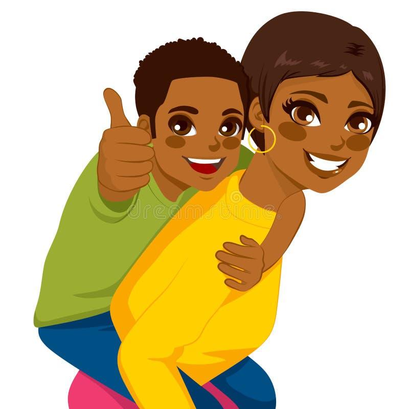 Afroamerikaner-Mutter-Sohn-Doppelpol Vektor Abbildung - Illustration ...