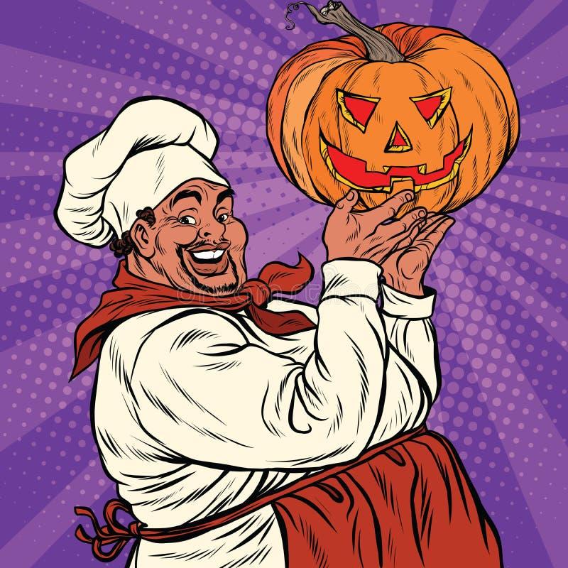 Afroamerikaner- oder Latinokoch mit einem Halloween-Kürbis stock abbildung