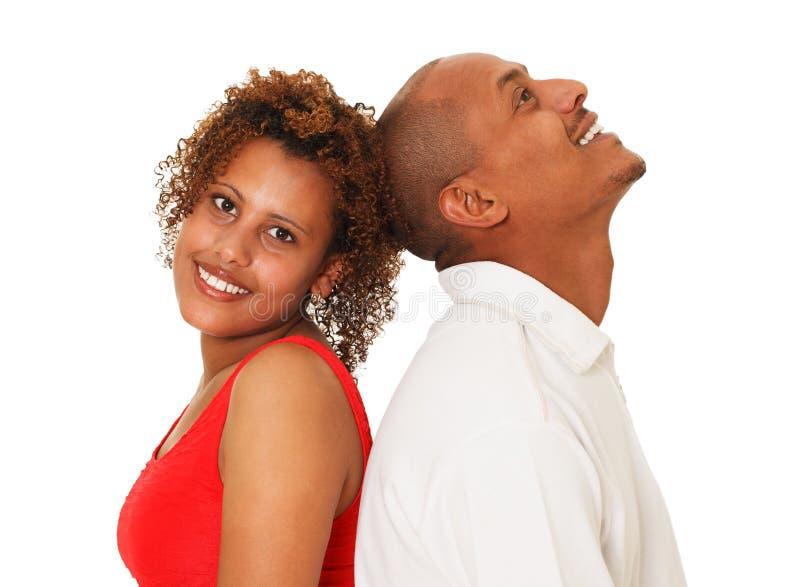 Afroamerikaner-Paare lokalisiert auf Weiß lizenzfreies stockbild