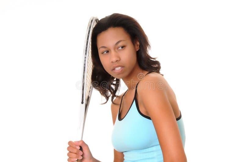 Afroamerikaner-Tennis-Mädchen lizenzfreie stockfotografie