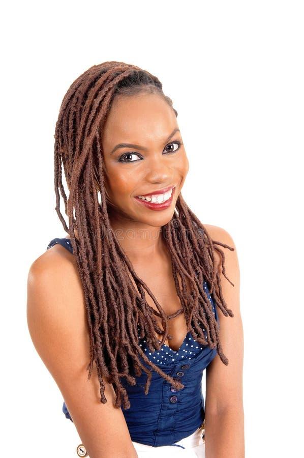 Afroamerikanerdame mit großem Lächeln stockbilder