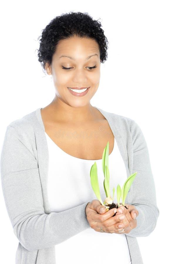 Afroamerikanerfrau, die eine Anlage hollding ist stockbild