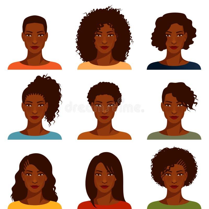 Afroamerikanerfrauen mit verschiedener Frisur vektor abbildung
