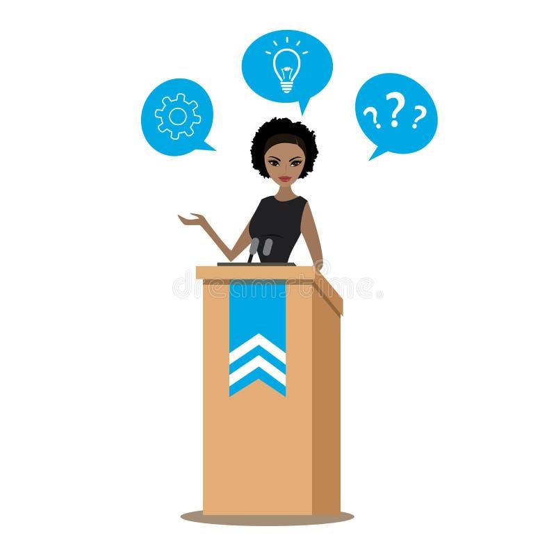 AfroamerikanerGeschäftsfrau oder Politiker, die sprechen, um audien stock abbildung