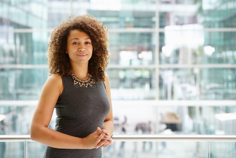 Afroamerikanergeschäftsfrauporträt, Taille oben lizenzfreies stockbild