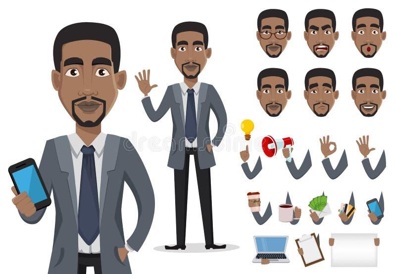 AfroamerikanerGeschäftsmann-Zeichentrickfilm-Figur-Schaffungssatz stockfoto