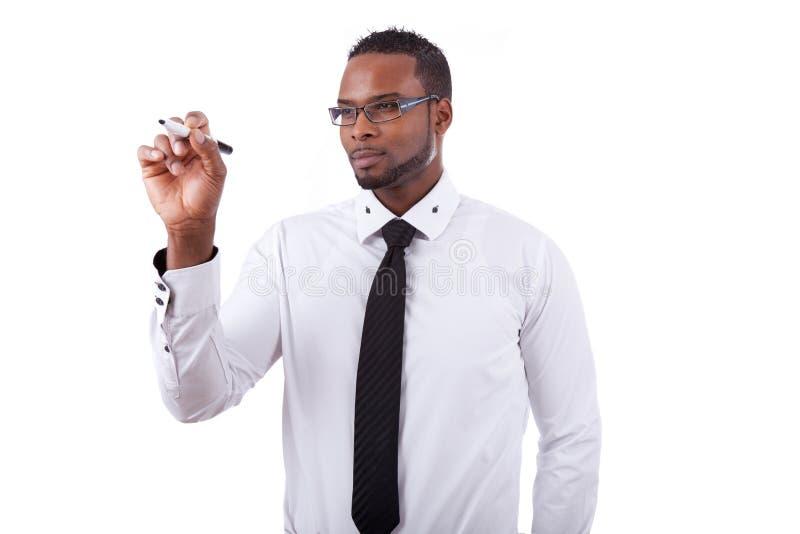 AfroamerikanerGeschäftsmannschreiben lizenzfreie stockfotografie