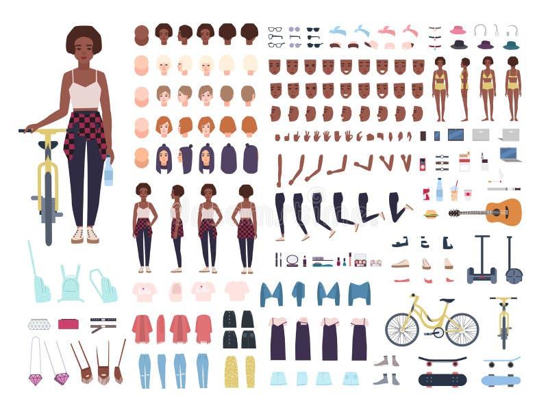 Afroamerikanerjugendlicheanimationsausrüstung oder -avatara Bündel Jugendlicher ` s Körperteile, Lagen, Gesichter, Haarschnitte lizenzfreie abbildung