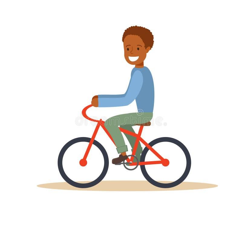 Afroamerikanerjunge, der Fahrrad fährt vektor abbildung
