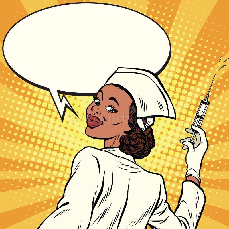 Afroamerikanerkrankenschwester mit einer Spritze für Schutzimpfung lizenzfreie abbildung