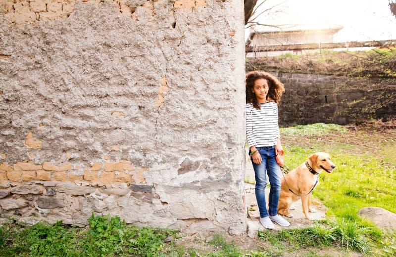 Afroamerikanermädchen mit ihrem Hund an der Betonmauer lizenzfreies stockfoto