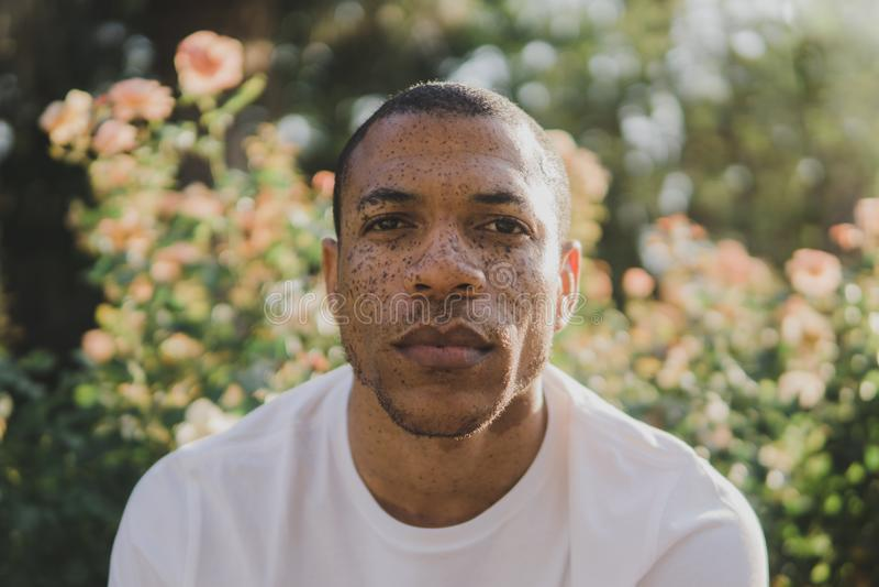 Afroamerikanermann mit den Sommersprossen, die draußen ernst schauen stockfotos