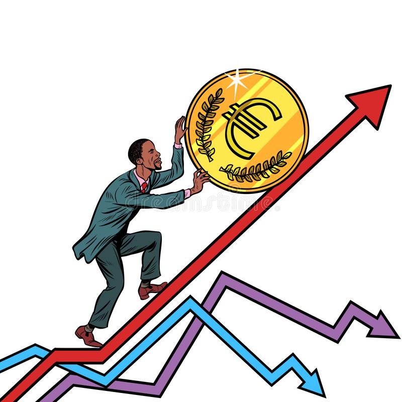 Afroamerikanermannrolle eine Euromünze oben lizenzfreie abbildung