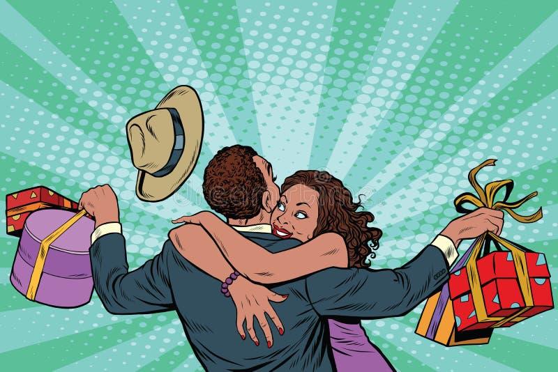 Afroamerikanerpaarglück von den Geschenken und vom Einkaufen lizenzfreie abbildung