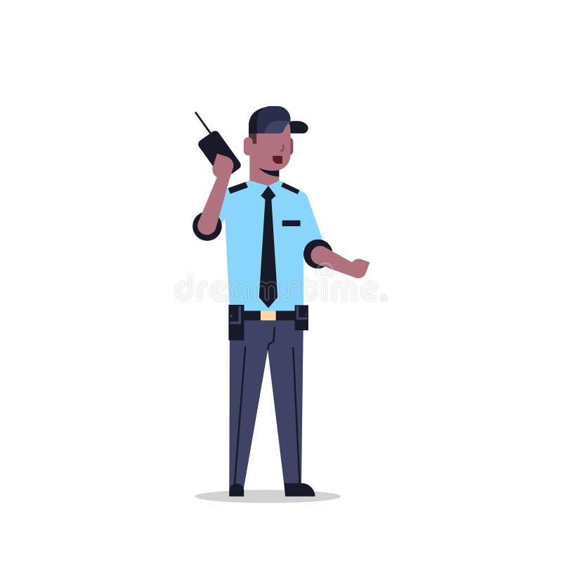 Afroamerikanersicherheitsbeamtemann in der einheitlichen haltenen sprechenden männlichen Karikatur des Funksprechgeräts des Radio stock abbildung