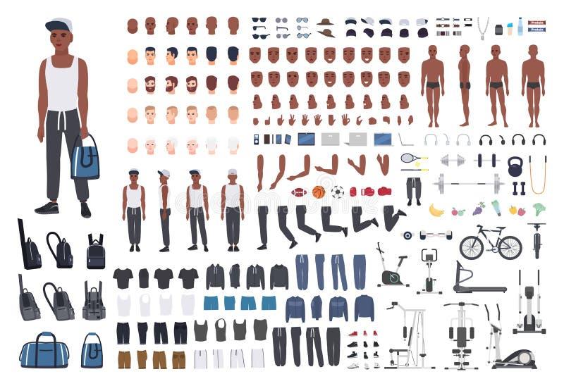 Afroamerikanersportler oder Mannesathlet DIY oder Animationsausrüstung Bündel Mann ` s Körperelemente, Sportkleid, bildend aus lizenzfreie abbildung