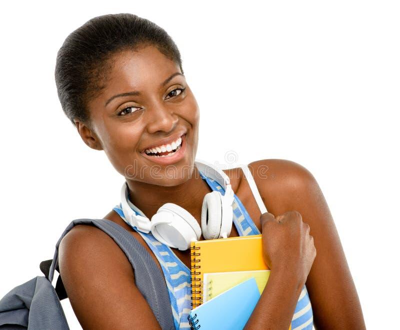 Afroamerikanerstudentenfrau, die zurück zur Schule geht  lizenzfreie stockfotografie