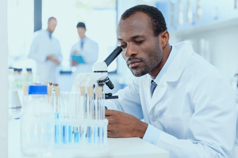 Afroamerikanerwissenschaftler im weißen Mantel, der mit Mikroskop im Labor arbeitet stockfotografie