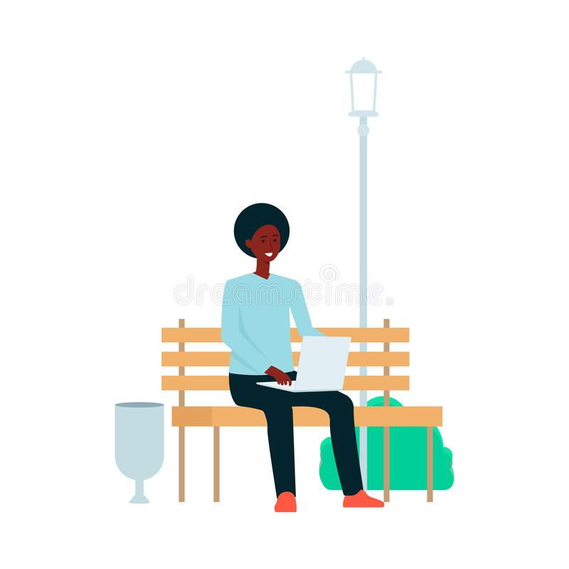 afroamerykański mężczyzna siedzi z laptopem na parkowej ławki kreskówki stylu royalty ilustracja