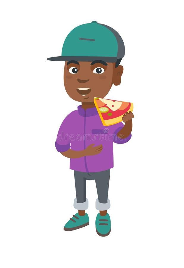 Afroamerykańska chłopiec je smakowitą pizzę royalty ilustracja