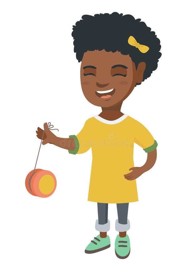 Afroamerykańska dziewczyna bawić się z jo-jo ilustracja wektor