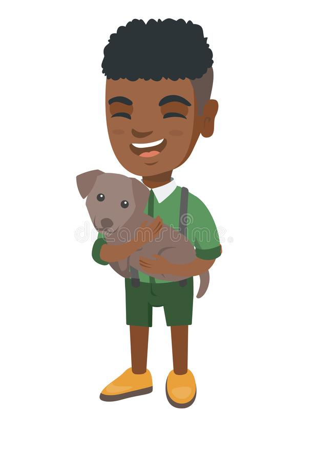 Afroamerykańska szczęśliwa chłopiec trzyma psa royalty ilustracja