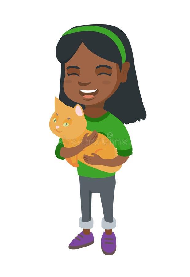 Afroamerykańska szczęśliwa dziewczyna trzyma kota ilustracji