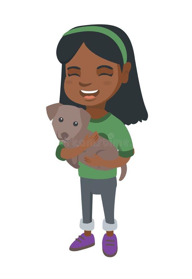 Afroamerykańska szczęśliwa dziewczyna trzyma psa royalty ilustracja