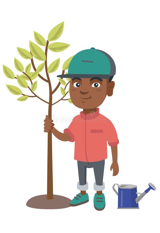 Afroamerykańska uśmiechnięta chłopiec zasadza drzewa royalty ilustracja