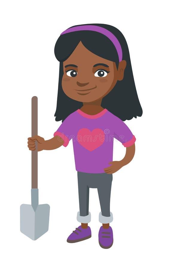 Afroamerykańska uśmiechnięta dziewczyna trzyma łopatę ilustracja wektor