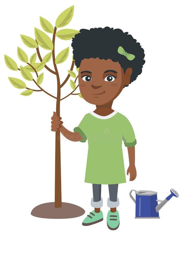 Afroamerykańska uśmiechnięta dziewczyna zasadza drzewa royalty ilustracja