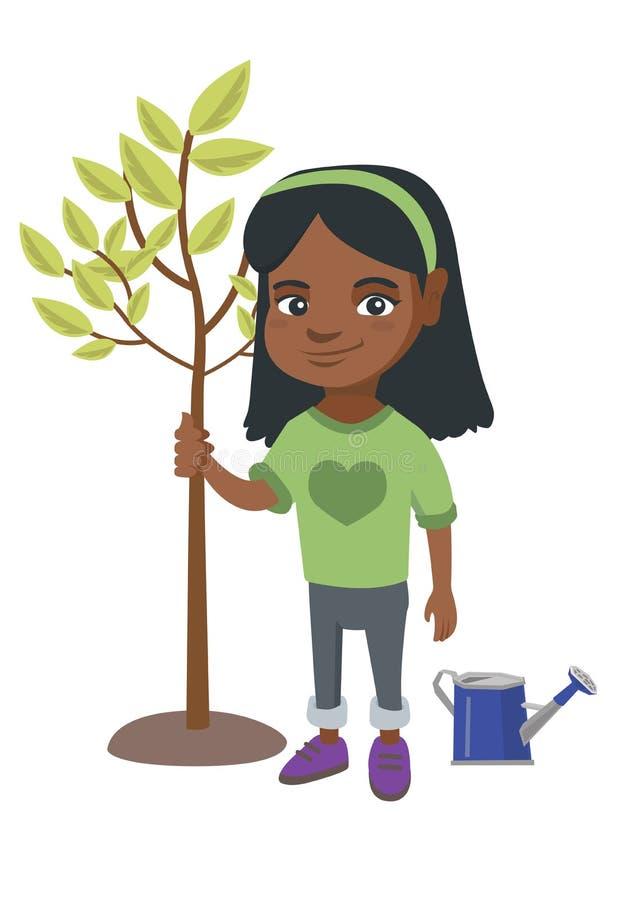 Afroamerykańska uśmiechnięta dziewczyna zasadza drzewa ilustracja wektor