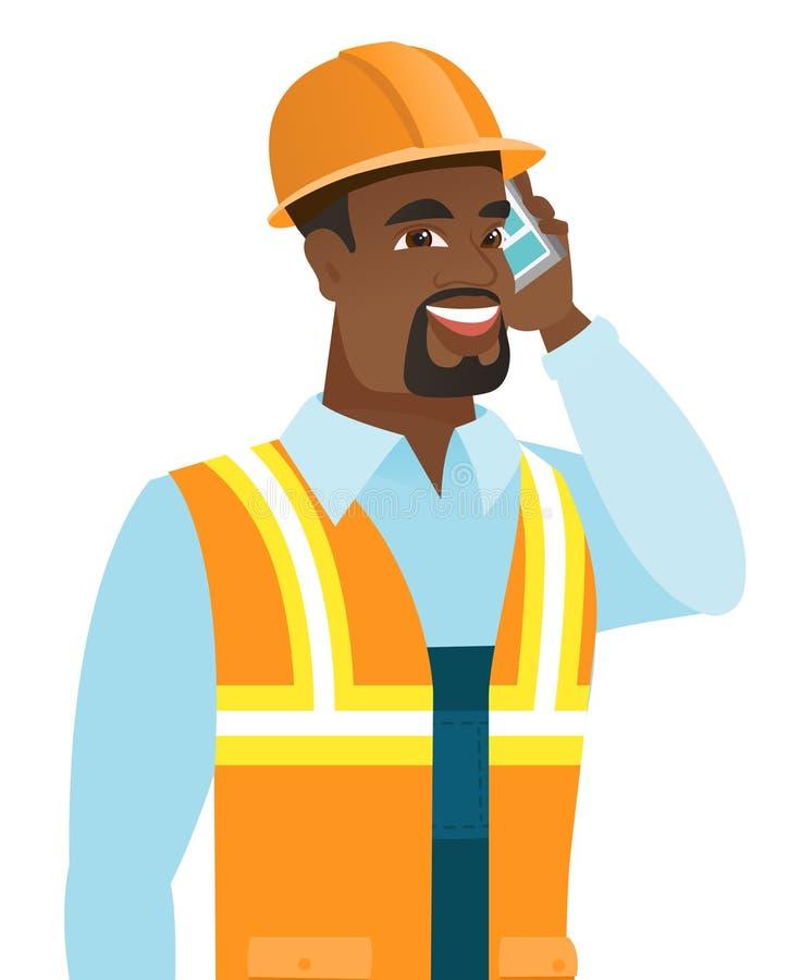 Afroamerykański budowniczy opowiada na telefonie komórkowym royalty ilustracja